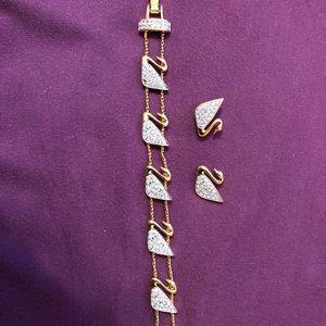 Swarovski Swan Bracelet and Earrings